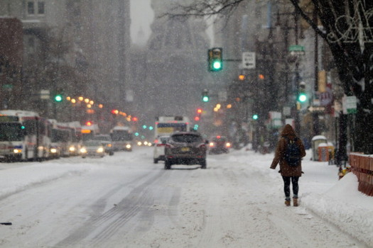 Winter Storm Brings Snow And Sleet To Philadelphia